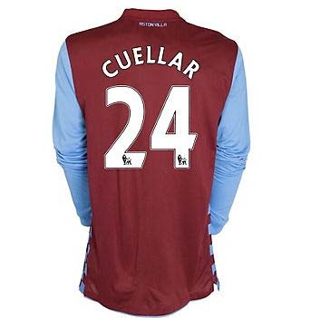 2010-11 Aston Villa Nike Long Sleeve Home Shirt (Cuellar 24)