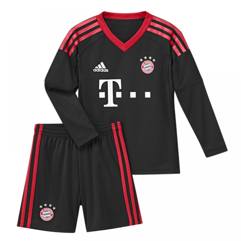 2017-2018 Bayern Munich Adidas Home Goalkeeper Mini Kit
