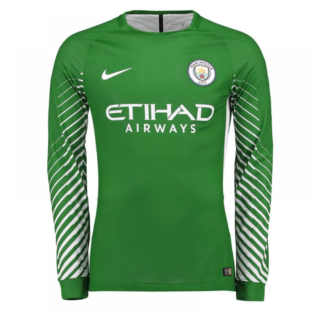 2017-2018 Man City Home Nike Goalkeeper Shirt (Green) - Kids