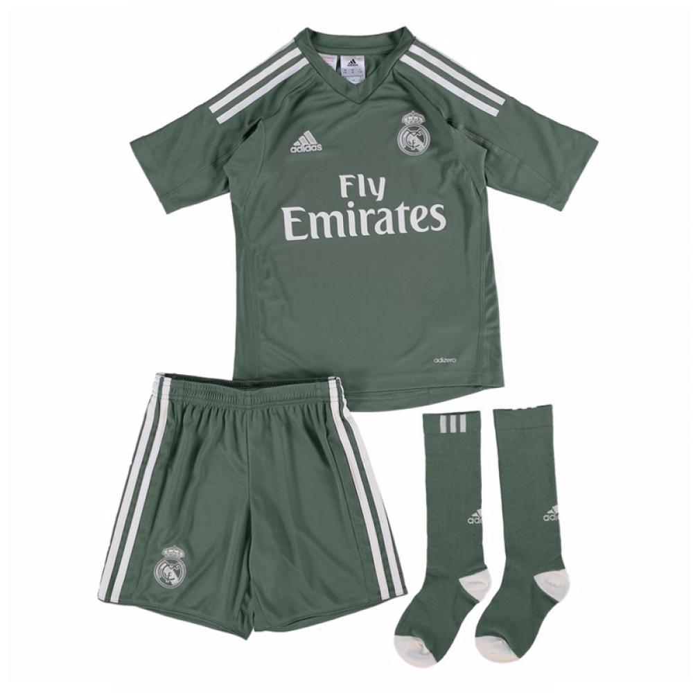 2017-2018 Real Madrid Adidas Home Goalkeeper Mini Kit