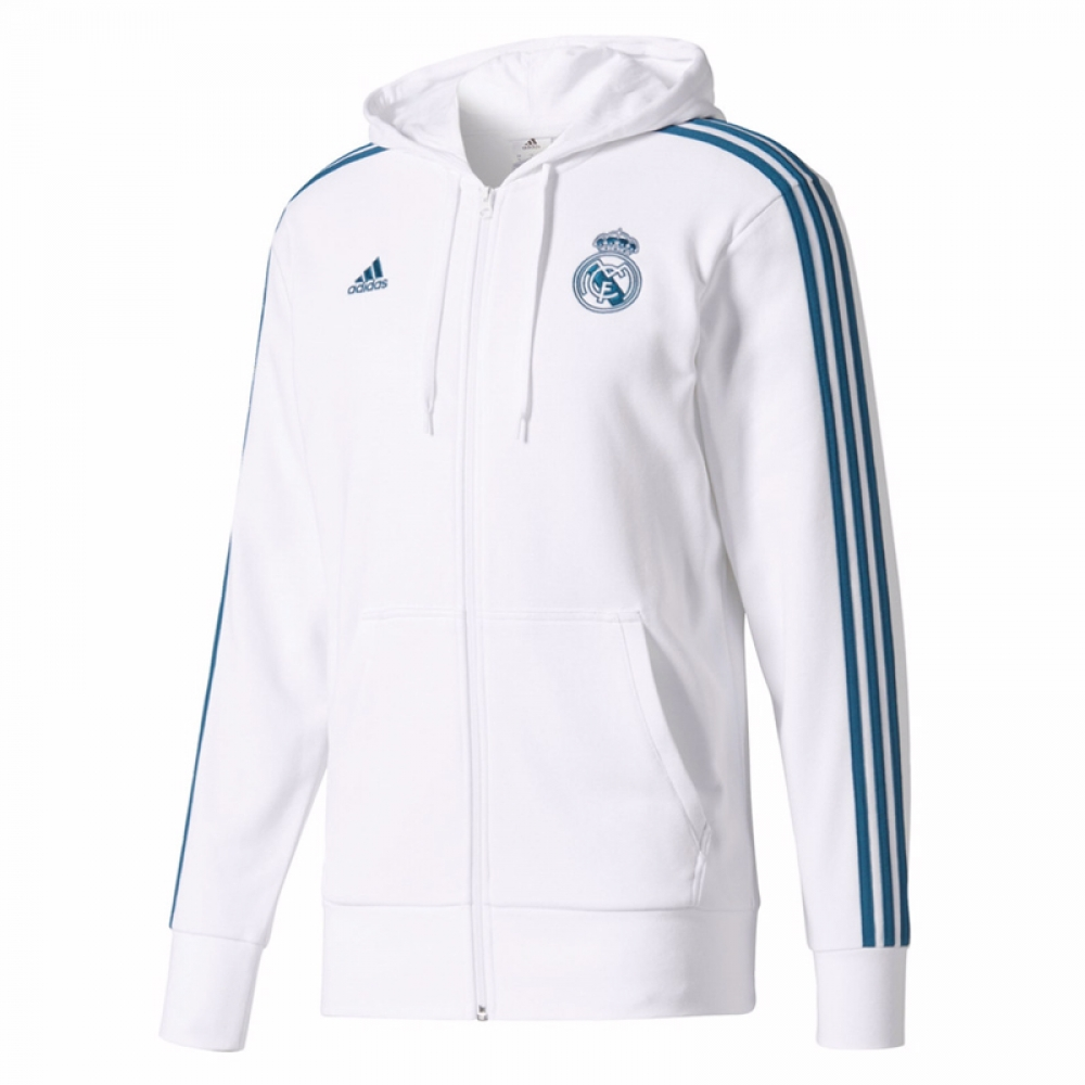 2017-2018 Real Madrid Adidas 3S Hooded Zip (White)
