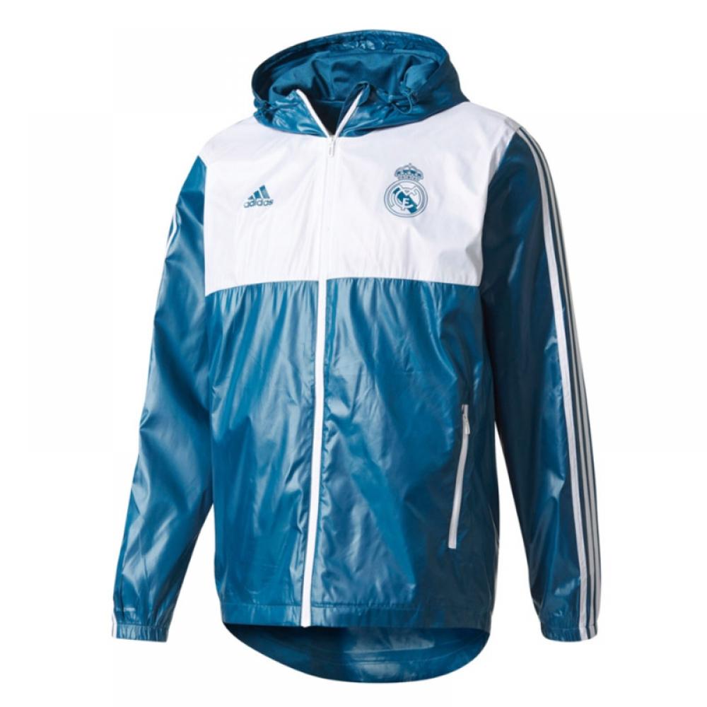 2017-2018 Real Madrid Adidas 3S Windbreaker (Dark Grey)