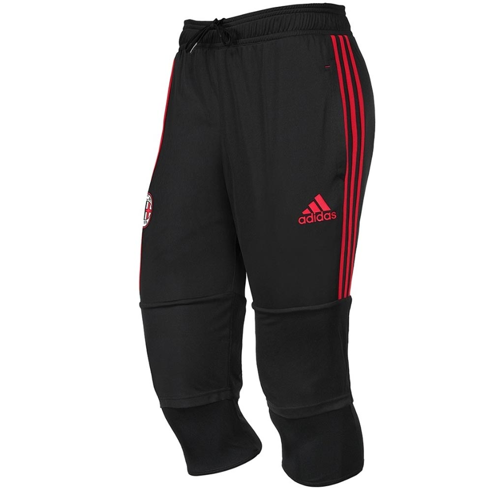 2017-2018 AC Milan Adidas Three Quarter Length Pants (Black)