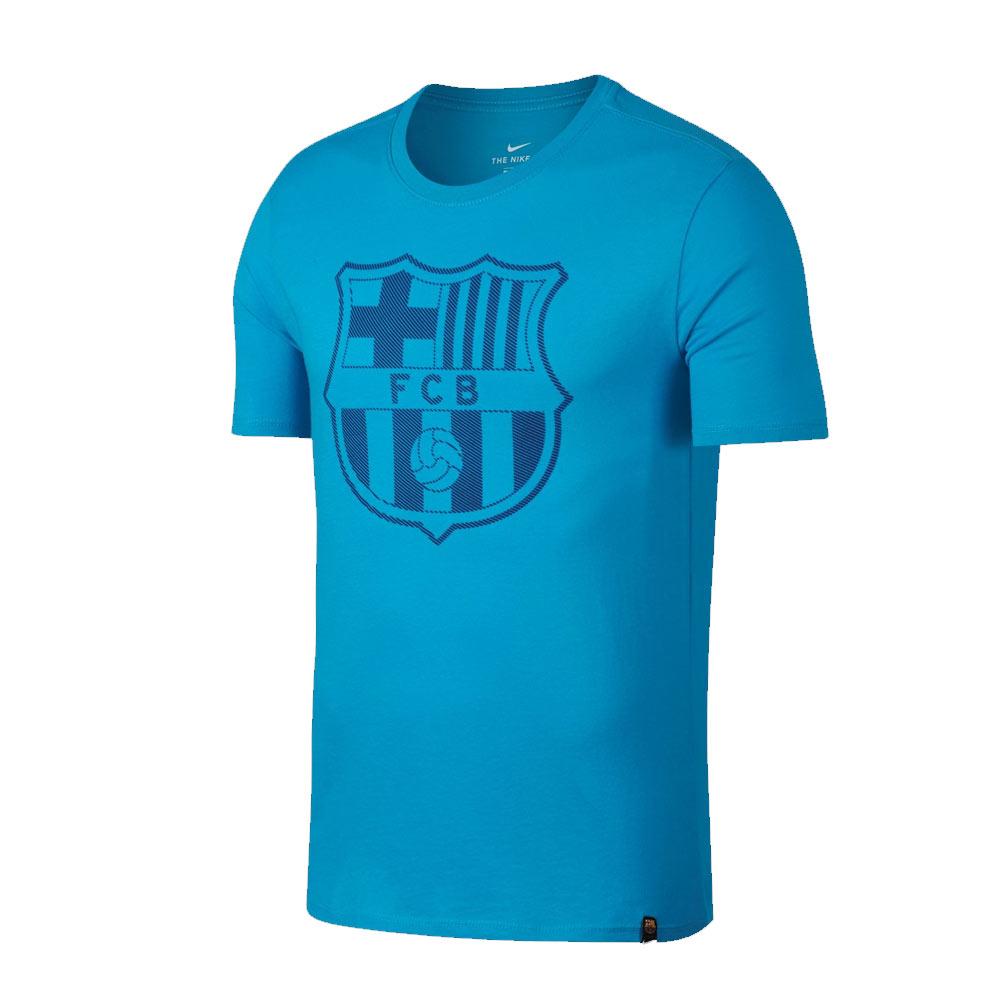 2017-2018 Barcelona Nike Core Crest T-Shirt (Light Blue)