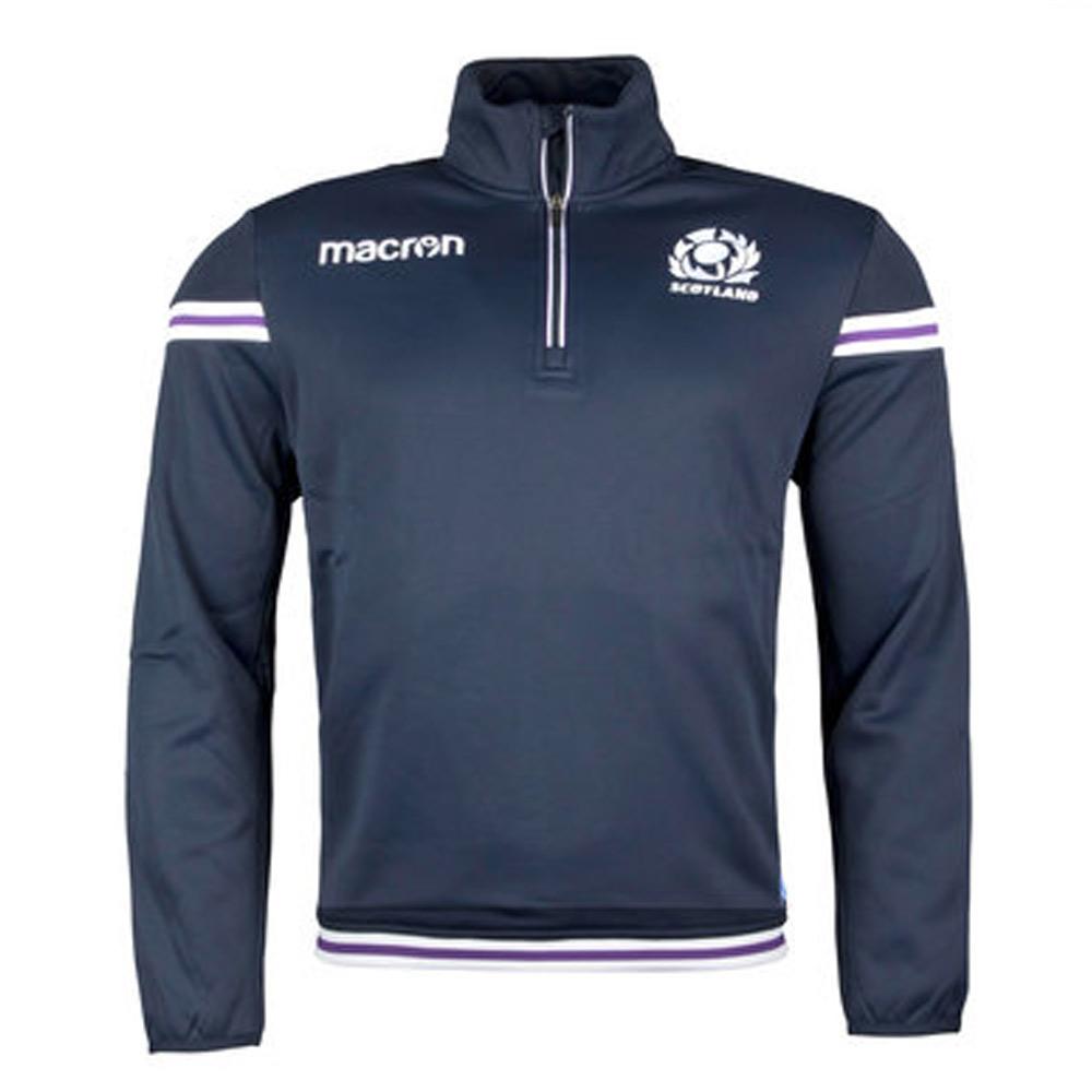 2017-2018 Scotland Macron Rugby Microfleece Half Zip Top (Navy)