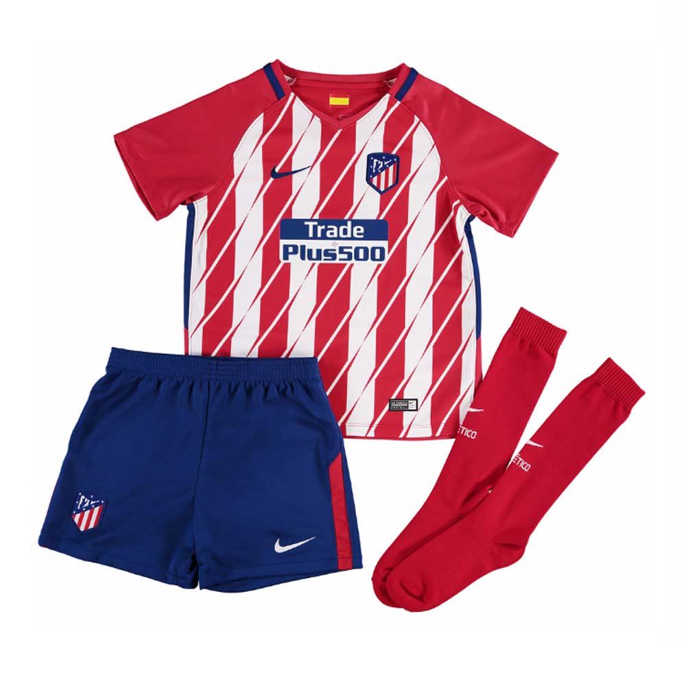 2017-2018 Atletico Madrid Home Nike Little Boys Mini Kit
