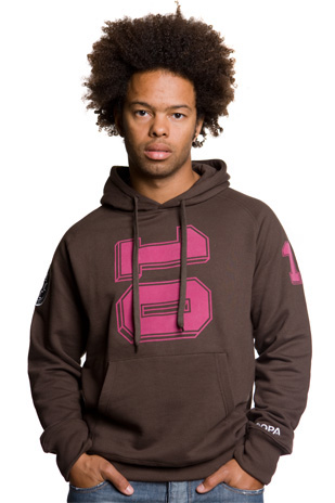 Mens Number 10 Hooded Sweater // Brown 70% Cotton/30% Polyester