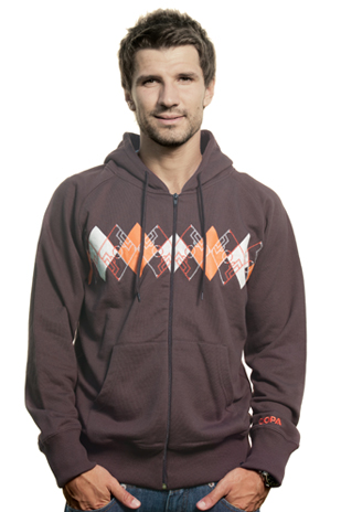 Mens Argyle Zip Hooded Sweater  Brown 70 cotton30 polyester