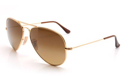 RayBan 8041 Aviator Titanium Shiny Gold Polarised Sunglasses