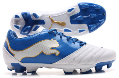 PowerCat 3.12 FG Football Boots White/Blue/Gold