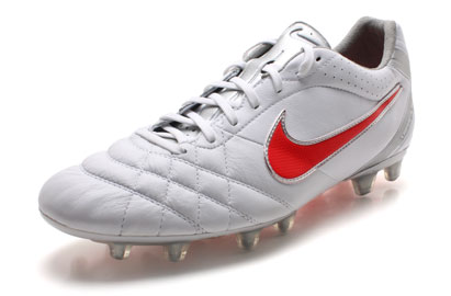 Tiempo Flight FG Football Boots White/Siren Red/Silver