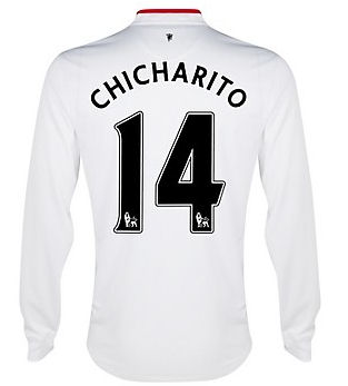 2012-13 Man Utd Long Sleeve Away Shirt (Chicharito 14) - Kids