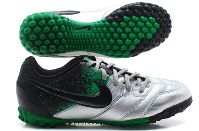 Nike5 Bomba Kids Astro Turf Trainers Metalic Silver/Black/Court Green