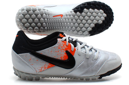 Nike5 Bomba Kids Astro Turf Trainers White/Black/Total Orange