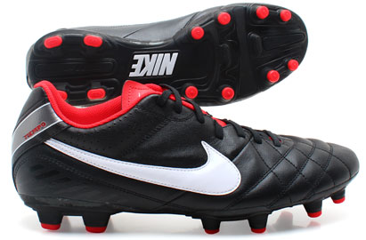 Tiempo Natural IV LTR FG Football Boots Black/White/Metallic Grey/Chilling Red