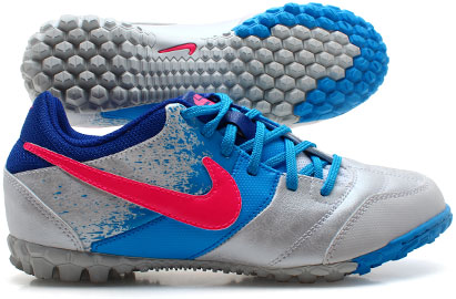 Nike5 Bomba Kids Astro Turf Trainers White/Blue Glow/Pink Flash