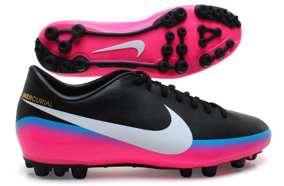 Mercurial Victory III CR7 AG Football Boots Black/Blue Glow/Pink Flash