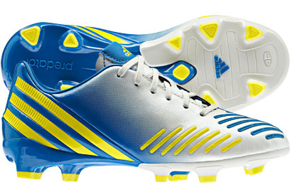Predator Absolion Kids LZ Lethal Zone TRX FG Football Boots Running White/Prime Blue/Vivid Yellow