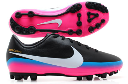 Mercurial Victory III CR7 AG Kids Football Boots Black/Blue Glow/Pink Flash