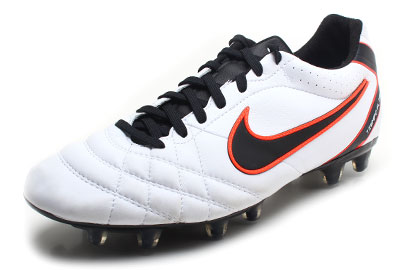 Tiempo Flight FG Football Boots White/Black/Total Crimson