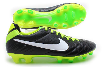 Tiempo Legend IV FG Football Boots Black/White/Electric Green
