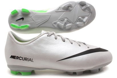 Mercurial Victory IV FG Kids Football Boots Metalic PlatinumBlack Electric