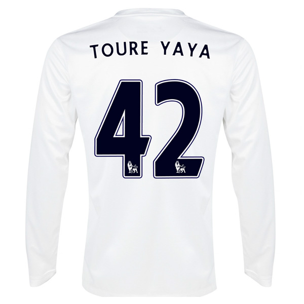 2013-14 Man City Third Long Sleeve Shirt (Toure Yaya 42)