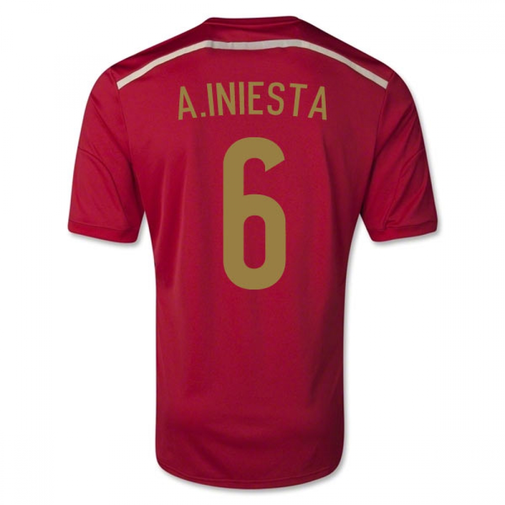 201415 Spain World Cup Home Shirt (A.Iniesta 6)  Kids