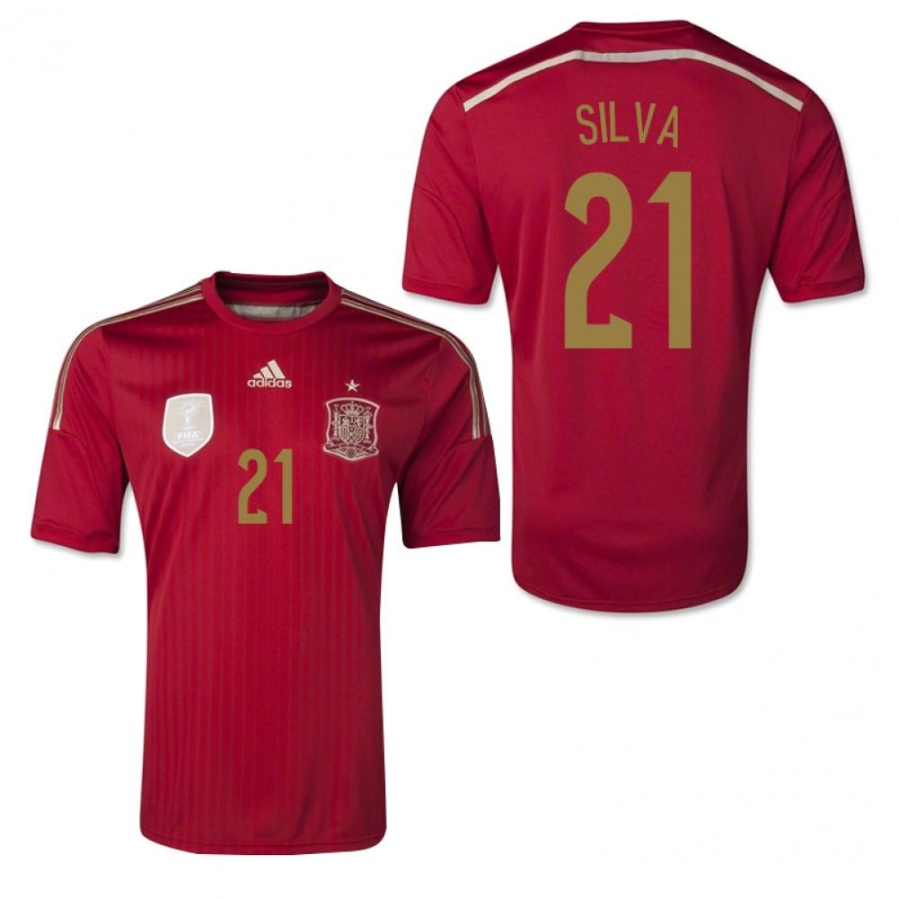 2014 15 spain world cup home shirt silva 21 g85279 for Spain polo shirt 2014
