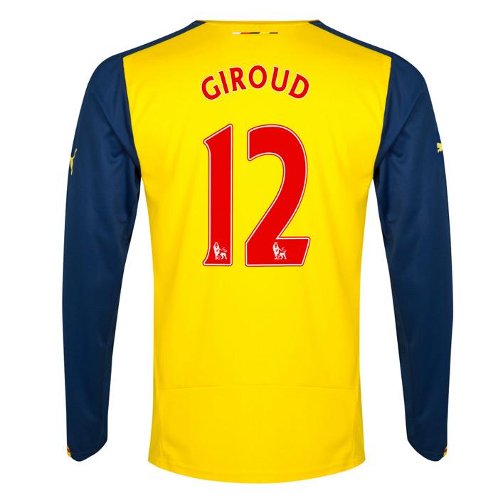 201415 Arsenal Long Sleeve Away Shirt (Giroud 12)  Kids