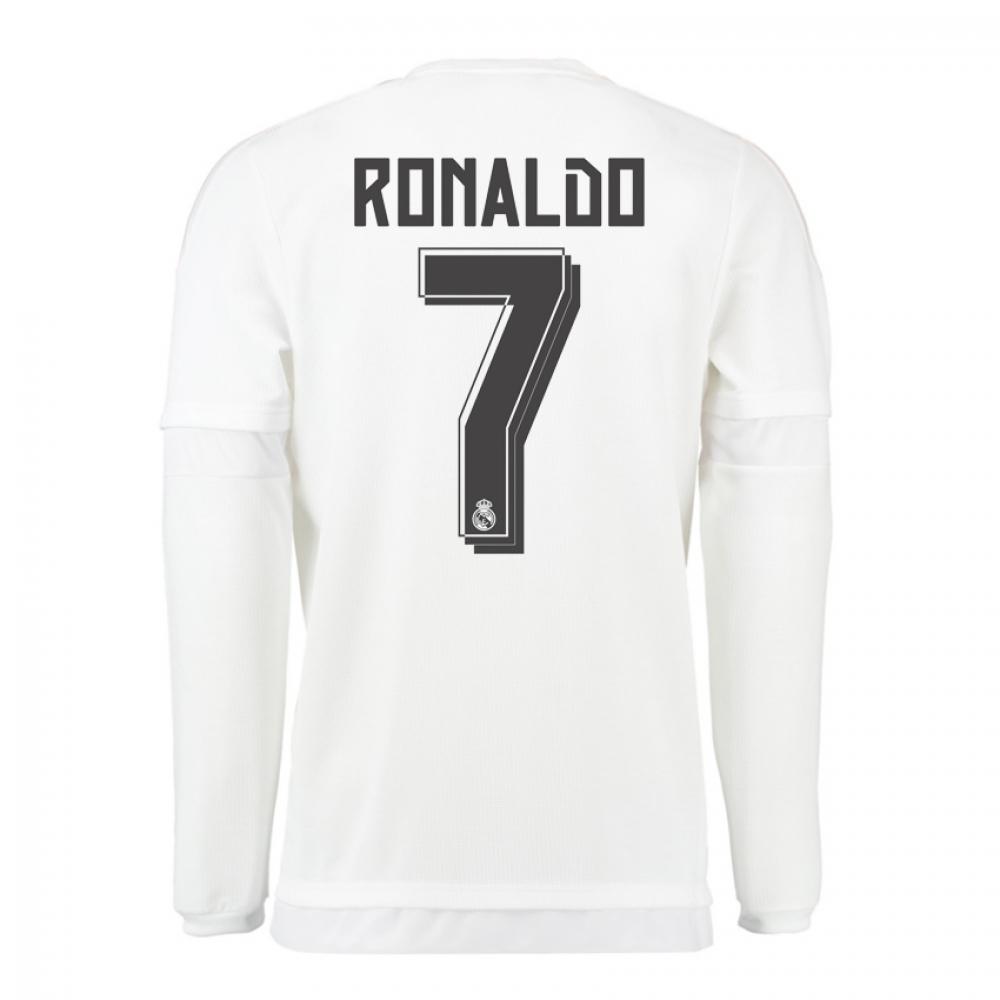 2015-16 Real Madrid Long Sleeve Home Shirt (Ronaldo 7) - Kids