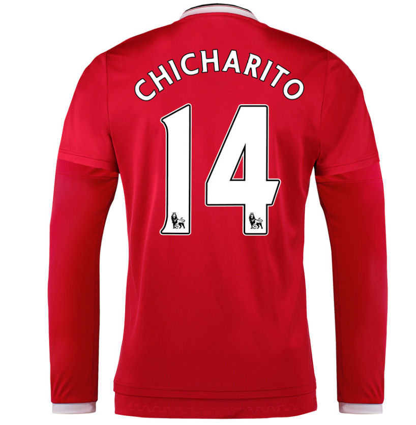 2015-2016 Man Utd Long Sleeve Home Shirt (Chicharito 14)