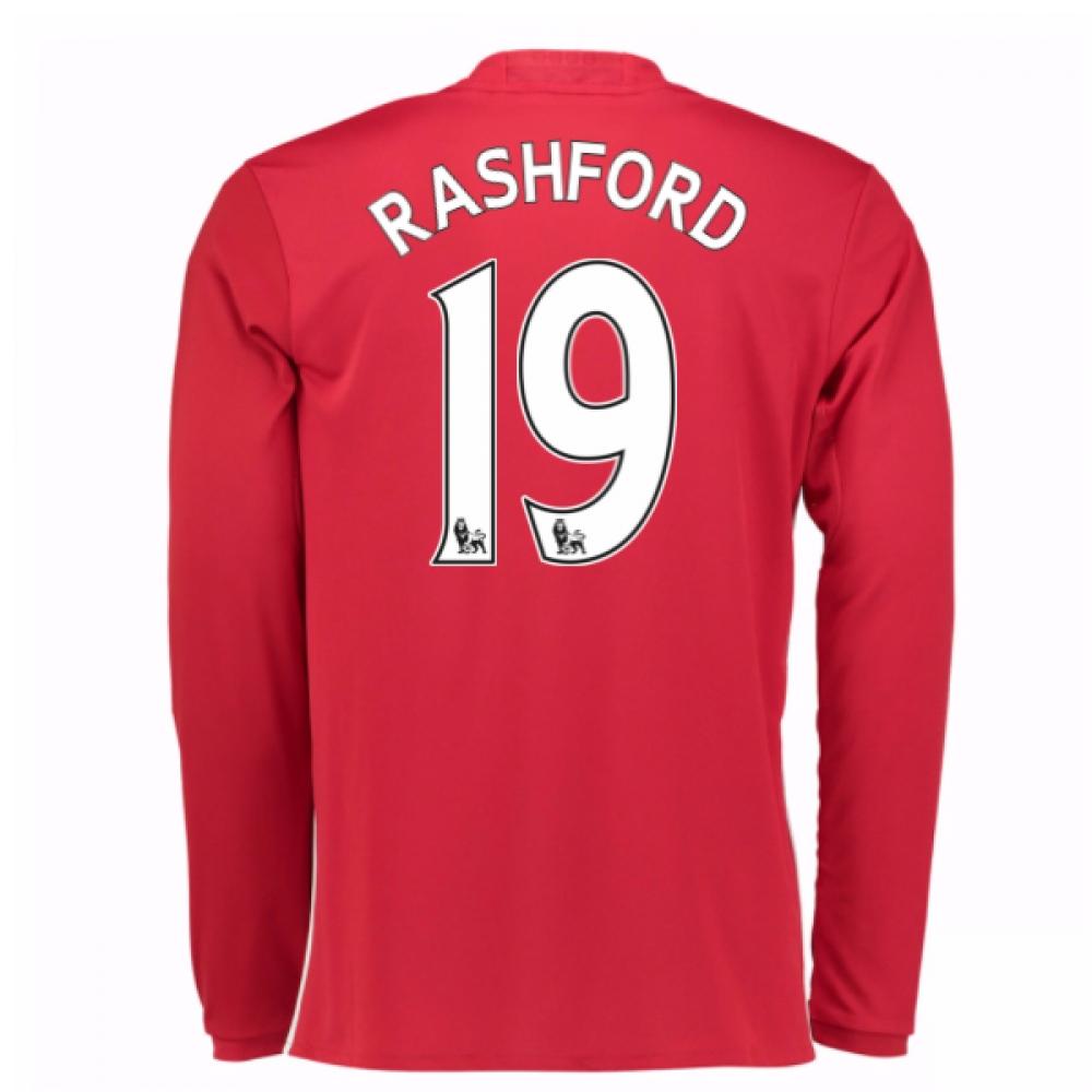 2016-17 Man United Home Long Sleeve Shirt (Rashford 19) - Kids