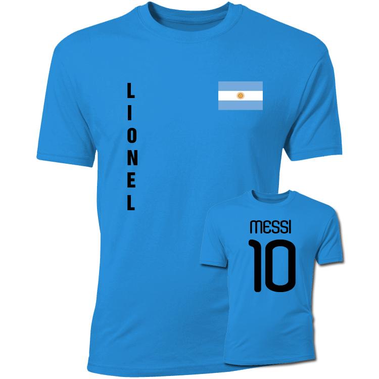 Lionel Messi Argentina Flag TShirt (Blue)