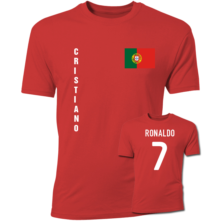 cristiano ronaldo portugal flag t shirt red. Black Bedroom Furniture Sets. Home Design Ideas
