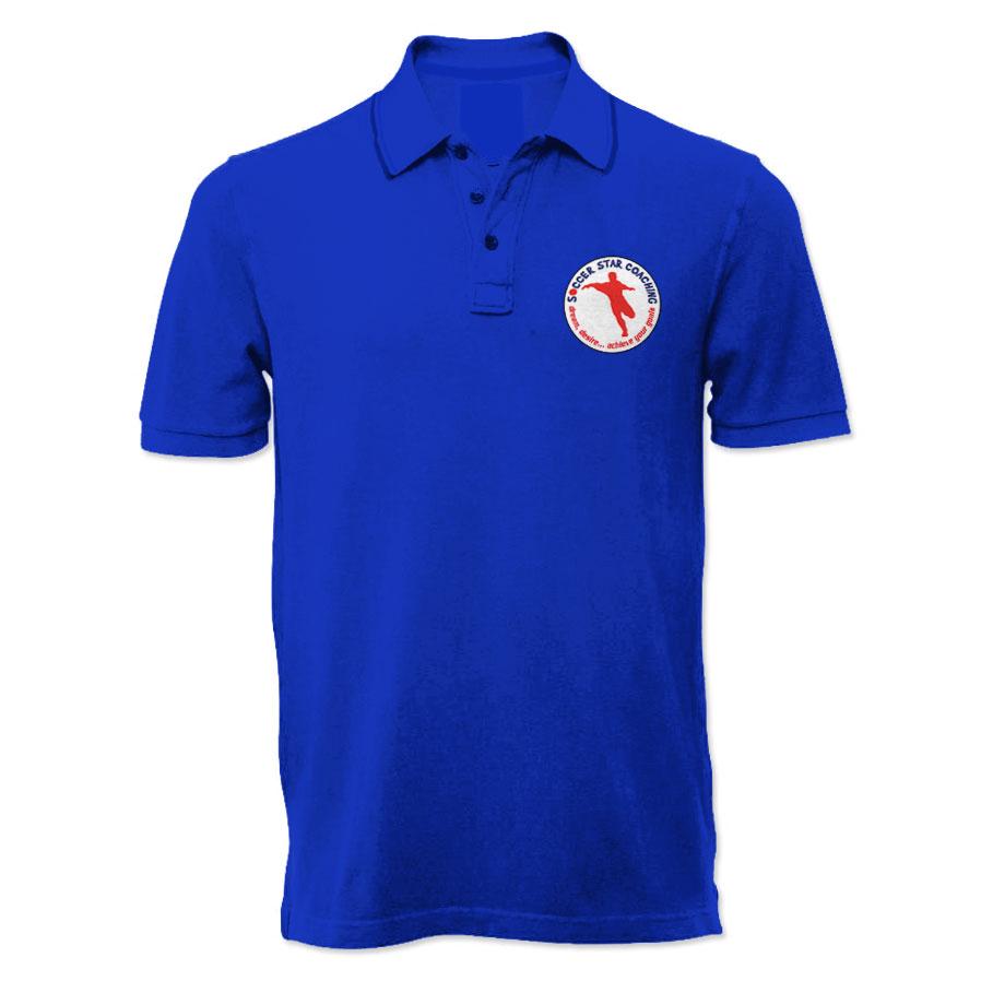 Soccer star coaching dream desire polo shirt blue for Soccer coach polo shirt