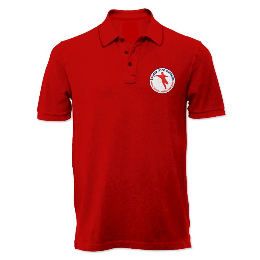 Soccer star coaching dream desire polo shirt red for Soccer coach polo shirt