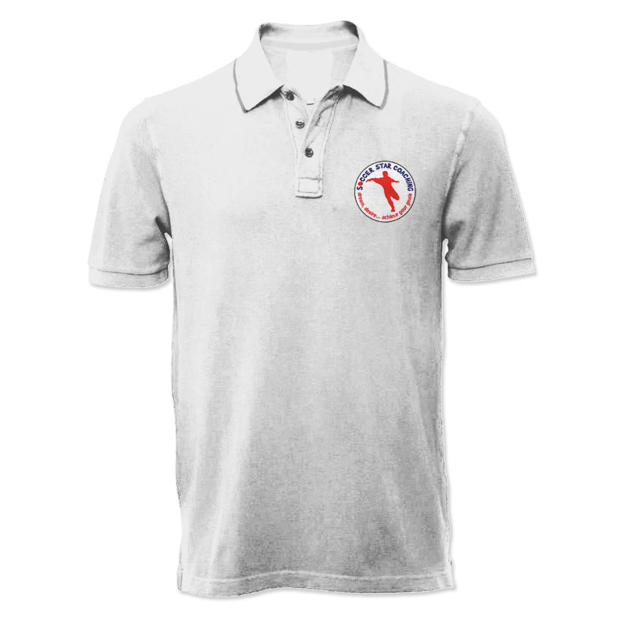 Soccer star coaching dream desire polo shirt white for Soccer coach polo shirt