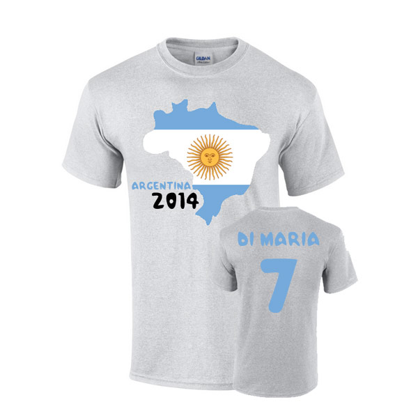 Argentina 2014 Country Flag Tshirt (di Maria 7)