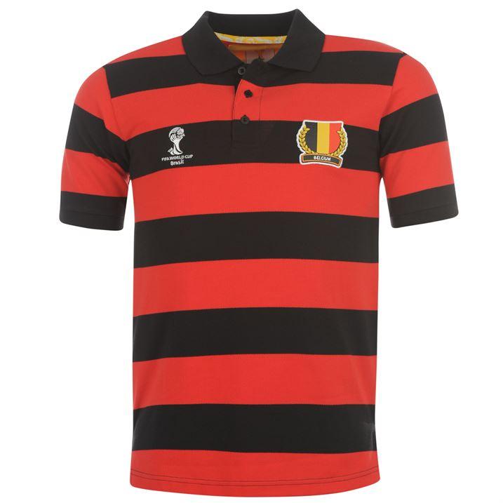 Belgium 2014 Fifa Striped Polo Shirt Black Yellow