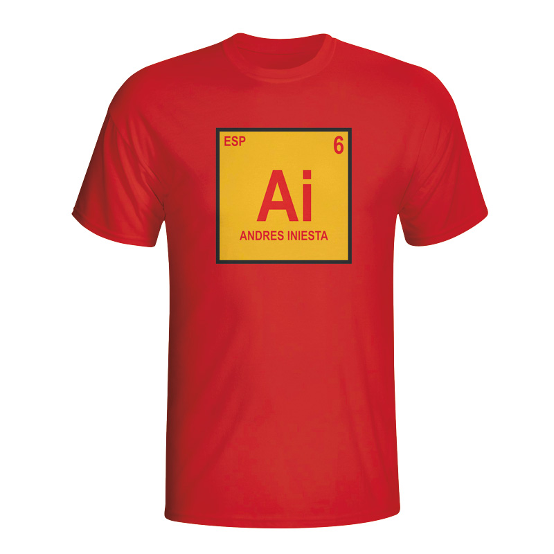 Andres Iniesta Spain Periodic Table Tshirt (red)  Kids