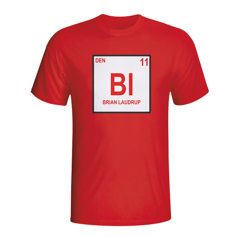 Brian Laudrup Denmark Periodic Table Tshirt (red)  Kids