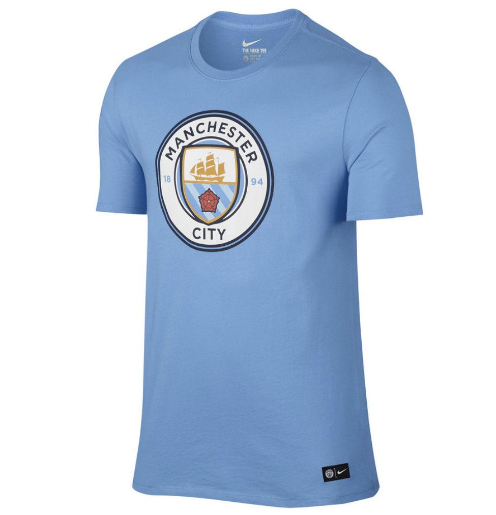 20162017 Man City Nike Core Crest Tee (Blue)  Kids