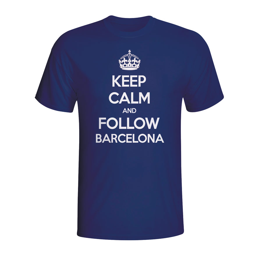 Keep Calm And Follow Barcelona Tshirt (navy)