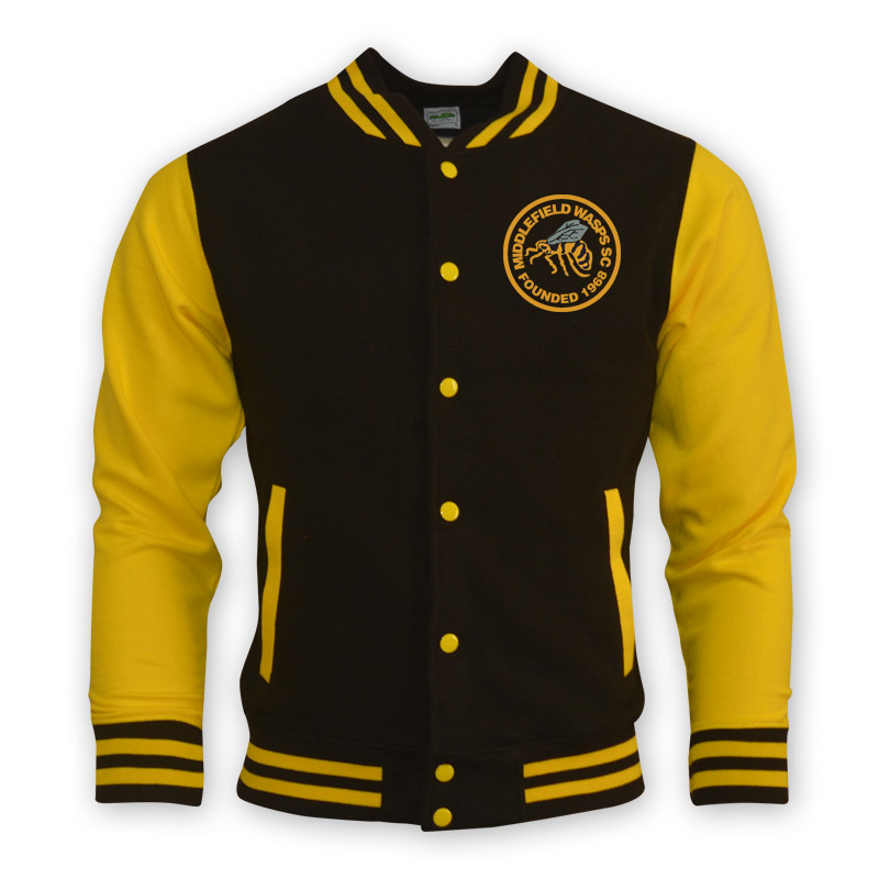 Middlefield Wasps College Baseball Jacket (Black-Yellow ...