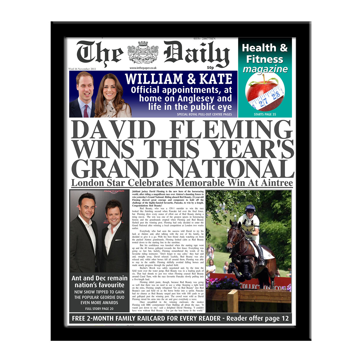 Personalised The Daily Wins Grand National Newspaper
