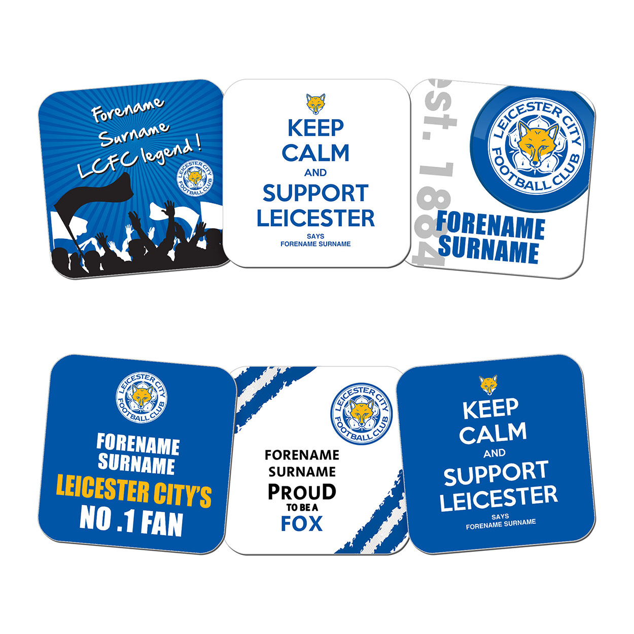 Personalised Leicester City Coaster Set (6 Pack)