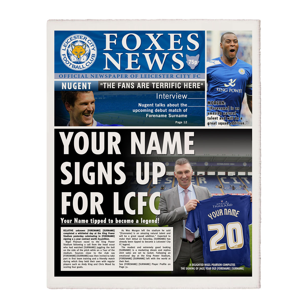 Personalised Leicester City Newspaper