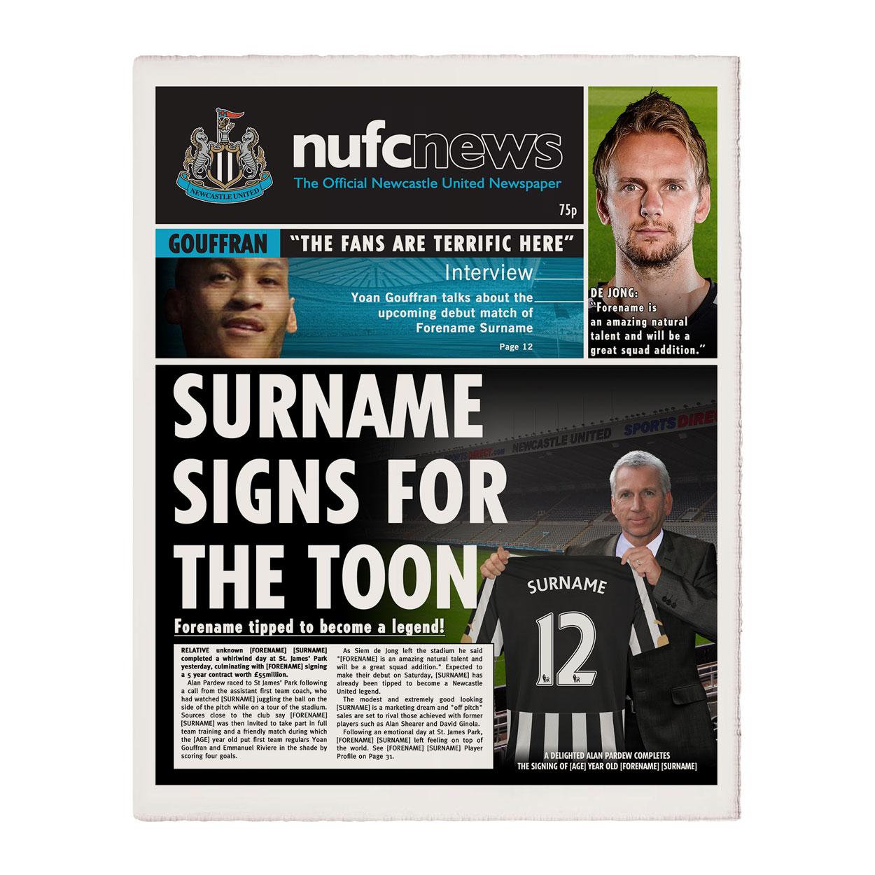 Personalised Newcastle United FC Newspaper