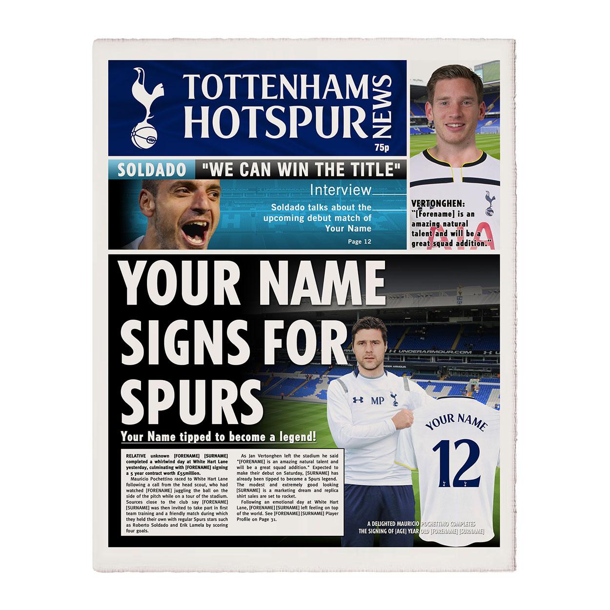 Personalised Tottenham Hotspur Newspaper
